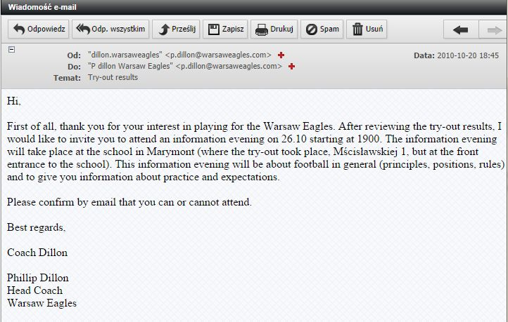 warsaw eagles mail -  try out results
